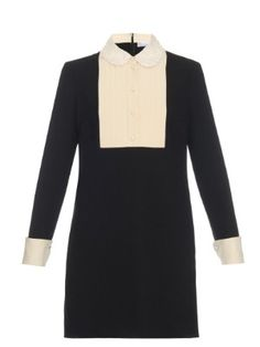 Lace-collar tuxedo dress by RED Valentino