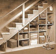 Elegant Under Basement Stair Storage