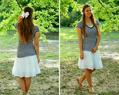 bows, pearls, and nautical stripes outfit creations by callie
