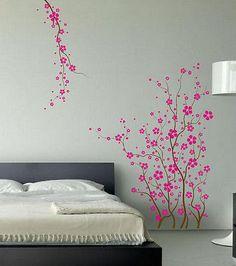 Vivero forestal Grande De Pared Calcomanía japonés Magnolia Cherry Blossom Flores Rama