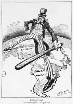 Monroe Doctrine: A declaration made by President Monroe that interference in Latin American affairs would be considered an attack on American interests. Intrusion in the New World by European powers would not go unnoticed and would be severely punished. 8th Grade History, History Class, Teaching History, Us History, American History, History Education, History Lesson Plans, History Projects, Political Art