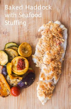Healthier Baked Haddock with Seafood Stuffing