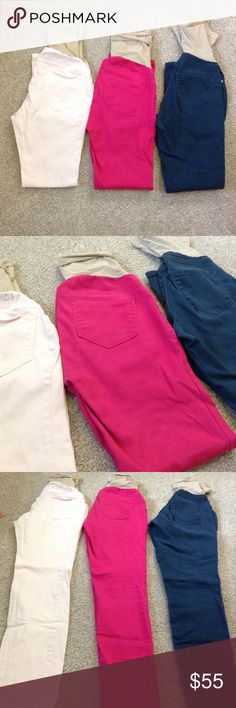 New Item 3 Pair Skinny Maternity Jeans Three pair of skinny maternity jeans by Motherhood Maternity. Size small but have stretch and will fit size 4-8 (pre prego size). The colors are pale pink, bright pink and deep turquoise. Used but lots of life left! They need a new baby bump to cover! Motherhood Maternity Jeans Skinny