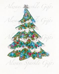 Hi, welcome to Always Sparkle Gifts This is my rather sparkly snow covered Christmas tree mixed media art work.. Each rhinestone and bead is individually hand glued on. I use quality glass rainbow rhinestones with a mix of a few Swarovski rhinestones for that added bit of extra