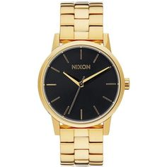 Nixon Small Kensington Analog Display Japanese Quartz Gold Watch ($123) ❤ liked on Polyvore featuring jewelry, watches, nixon watches, snap button jewelry, analog watches, gold tone watches and analog wrist watch