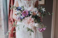 Late Summer Bridal Bouquet | Cafe au Lait Dahlia | Cosmos | Jasmine | Sweet Pea tendrils.