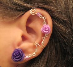 "Items similar to Non Pierced Ear Cuff ""Roses are Purple"" Cartilage Conch Cuff Color Choices Wedding Prom Quinceanera on Etsy Fall Jewelry, Summer Jewelry, Unique Jewelry, Cartilage, Ear Piercings, Fashion Jewelry, Women Jewelry, Conch, Violet"