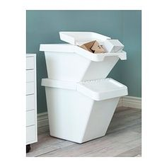 For cat litter and food in laundry SORTERA Waste sorting bin with lid - 37 l - IKEA small $19.95
