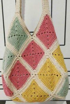 Crochet Bag Tutorials, Crochet Diy, Crochet Tote, Crochet Handbags, Crochet Purses, Crochet Projects, Sewing Tutorials, Tutorial Crochet, Sac Granny Square