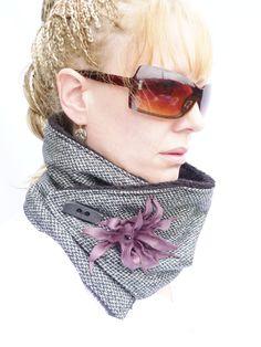 Limited Edition Womens Neckwarmer - Black Gray Tweed, Black fleece with Sculptured Purple Leather Flower. $45.00, via Etsy.