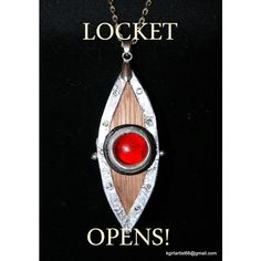 Locket Opens Up- Replica of Prop from House of Anubis Like Ninas Eye... ($24) ❤ liked on Polyvore featuring jewelry, necklaces, long locket necklace, magnetic necklace, egyptian necklace, wooden chain necklace and wood chain necklace