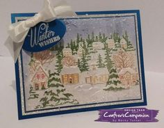 Tent card with acetate dome made with Crafter's Companion Christmas Village 3D Embossing Folder. Designed by Becky Turner #crafterscompanion