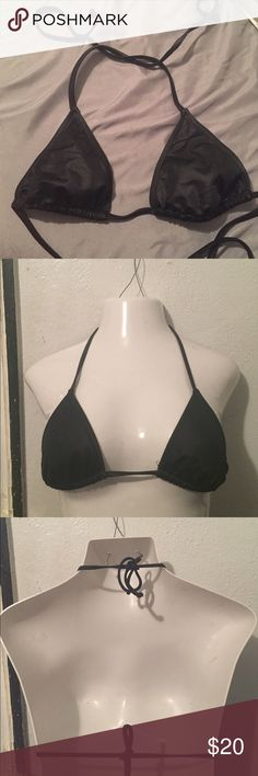 Beach bunny black bikini top size small Great condition. 89% polyamide 11% elastane. String tie on back and neck. No padding. Beach Bunny Swim Bikinis