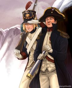 hetalia, France and his boss Napoleon.