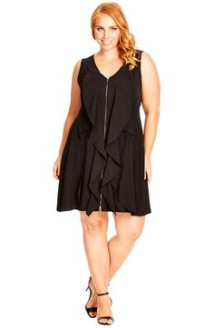 a676b48a14 City Chic Frill Zip Front Pleat Tunic (Plus Size)
