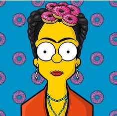 frida kahlo, the simpsons Homer Simpson, Simpson Art, Cultura Pop, The Simpsons, Simpsons Drawings, Simpsons Tattoo, Frida And Diego, Frida Art, Caricatures