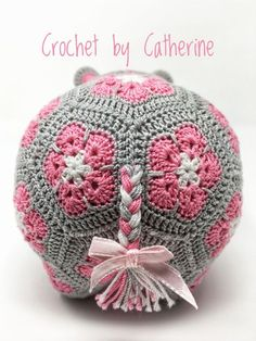 awesome The Happy Hippo Crochet African Flower Free Pattern - Crochet Craft, Crochet Hippopotamus, Pink Bow