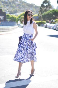 Office inspiration - porcelain blue&white midi skirt