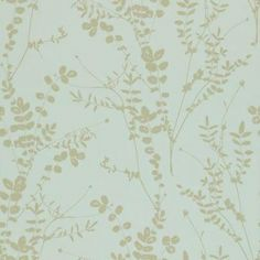 Salvia (110161) - Harlequin Wallpapers - A pretty Salvia leaf trail - showing in metallic gold on a pale blue background. Other colour ways available. Please request a sample for true colour match. Paste-the-wall product.
