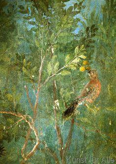 Empress Livia s Garden Bird with Daisies This fresco room