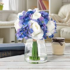 Hydrangea and Rose Artificial Floral Arrangement with Vase and Faux Water- Fake Flowers for Home Decor, Weddings, Shower Centerpiece by Pure Garden, Blue Hortensien Arrangements, Artificial Floral Arrangements, Artificial Hydrangeas, Hydrangea Not Blooming, Blooming Rose, Silk Hydrangea, Peonies Centerpiece, Elegant Centerpieces, Tiffany Blue Weddings