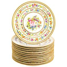 4800 Twelve Hand-Painted Limoges Service Plates by Charles Ahrenfeldt | From a unique collection of antique and modern dinner plates at https://www.1stdibs.com/furniture/dining-entertaining/dinner-plates/