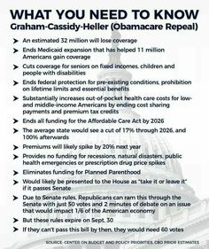 What You Need To Know Graham-Cassidy-Heller (Obamacare Repeal) Ugly Americans, Just Go, Let It Be, Robert Reich, Intersectional Feminism, Social Justice, The Expanse, Need To Know, Health Care