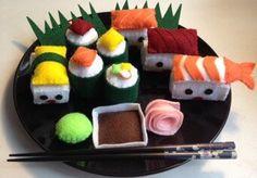 Japanese Felt Play Sushi Set (13 Pieces), Eco Friendly, Sushi Set, Play Felt Food, Felt Stuffed Creation, Stuffed Creations
