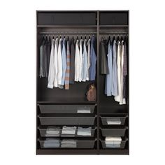 PAX Wardrobe - black-brown, Forsand black-brown stained ash effect - IKEA Pax Corner Wardrobe, Wardrobe Closet, Wardrobe Storage, Open Wardrobe, Wardrobe Ideas, Wardrobe Organisation, Bedroom Wardrobe, Wardrobe Design, Organization