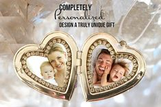 Custom Double Photo Locket - Heart - Your Own Photo - Engraved Locket Words: Love; Faith; Hope; Happiness; Passion; Feeling