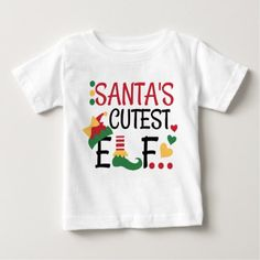 Shop Santa's Cutest Elf Christmas Baby T-Shirt created by MagicOwlStudio. Personalize it with photos & text or purchase as is! Baby Christmas Onesie, Baby Christmas Photos, Christmas Shirts For Kids, Christmas Clothing, Newborn Christmas, Christmas Vinyl, Xmas Shirts, Winter Shirts, 1st Christmas