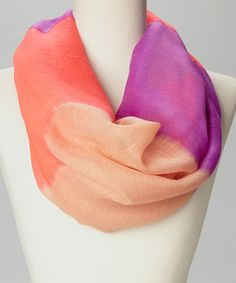 Look at this #zulilyfind! Pink & Orange Tie-Dye Infinity Scarf #zulilyfinds