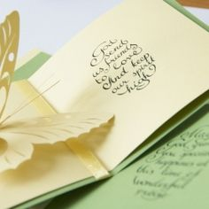 Warm and delicate words in calligraphy for the greeting cards.