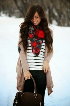 Stylish Winter Outfit: Amazing White Shirt with Black Stripes ,Cream Coloured Cardigan, Black Tights,Gorgeous Handbag and Red Scarf With Bla...