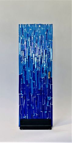 Glass Artwork, Glass Wall Art, Stained Glass Panels, Blue Tones, Yard Ideas, Fused Glass, Cobalt, Iridescent, Diy And Crafts