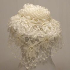 Wow, this is so delicate. Crochet Shawl Handmade Ivory Flower Mohair Triangle Shawl