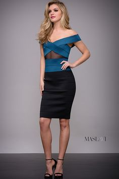 On trend two tone knee length bandage dress by Jovani features off the shoulder v neckline and sheer panel in the front.