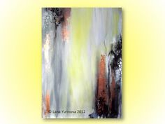 Abstract Painting Ikat Inspiring Yellow Grey by lanasfineart, $255.00