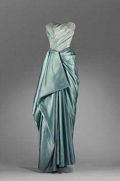 Evening dress // Draped sea foam green silk satin and taffeta; 1950 | Charles James // Museum of Fine Arts, Boston
