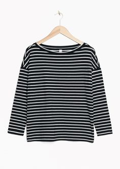 & Other Stories image 2 of Striped Bateau Top  in Black