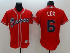 386dc5b7b1b Braves  6 Bobby Cox Red Flexbase Authentic Collection Stitched MLB Jersey