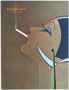 1977 Art Deco GOLD FLAKE CIGARETTES AD Greeting Card