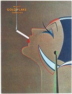 1927 Art Deco Gold Flake Cigarettes Ad Greeting Card