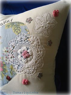 Cushion with bone lace of Peniche, Portugal