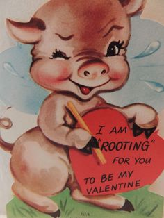 vintage valentine card pig hog piggie rooting for you unused 1950s ebay - Valentine Pig