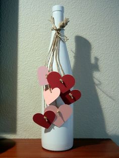 Valentine Wine Bottle - Very easy, cute, simple V-Day decor