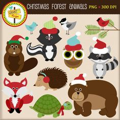 Christmas Forest Animals Clipart - Christmas Woodland Animals Clip Art - Cute Digital Clipart - Card Design, Scrapbooking