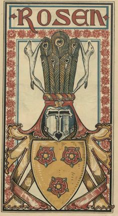 von Rosen (German / Swedish) -- Baltischer Wappen-Calendar 1902 (Baltic States Coats of Arms Calendar) published in Riga by E Bruhns with illustrations by M. Kortmann.