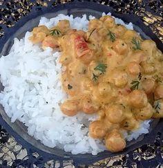Curry de pois chiche à l'indienne Shrimp, Curry, Veggies, Meat, Food, Vegetarian Cooking, Healthy, Indian, Essen