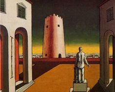 Italian plaza with a red tower - Giorgio de Chirico - one of my favorite surrealist painters. ~ETS